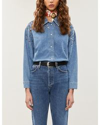Sandro Rubby Faded-wash Embellished Denim Shirt - Blue