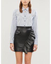 Sandro Ruffled Leather Mini Skirt - Black