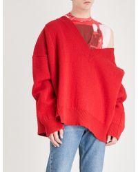 Raf Simons | Reverse Stitch Oversized Wool Jumper | Lyst