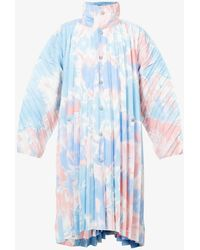 Homme Plissé Issey Miyake Bleach Like Graphic-print Pleated Shell Coat - Blue