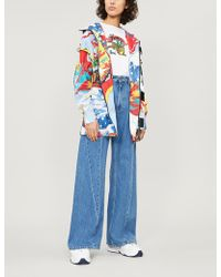 Angel Chen Graphic-print High-neck Stretch-cotton Jacket - Blue