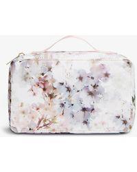 Ted Baker Taffeta Floral-print Woven Wash Bag - White