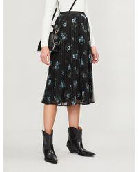 Claudie Pierlot - Floral-print Pleated Georgette Skirt - Lyst