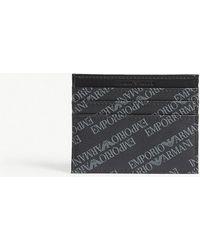 Emporio Armani - Eagle-print Leather Card Holder - Lyst