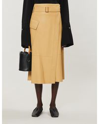 Vince - Belted Leather A-line Skirt - Lyst