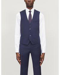 Ted Baker Debonair Dragonfly-print Modern-fit Wool Waistcoat - Blue
