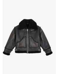 The Kooples Shearling-trimmed Leather Biker Jacket - Black