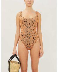 Hunza G Athena Leopard-print Swimsuit - Brown