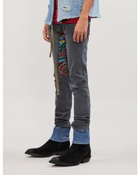 Alchemist Embroidered Relaxed-fit Stretch-denim Jeans - Blue