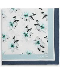 Ted Baker Floripo Floral-print Mulberry-silk Pocket Square - White