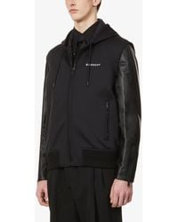 Givenchy Brand-embroidered Leather And Shell Hooded Jacket - Black