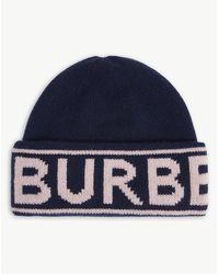 Burberry Logo-pattern Cashmere Beanie Hat - Blue