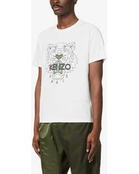 KENZO - Mens White Tiger Graphic-print Cotton-jersey T-shirt S - Lyst