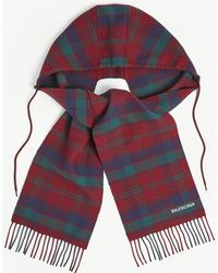 Balenciaga - Tartan Wool Hooded Scarf - Lyst