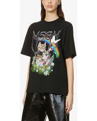 MSGM - Graphic-print Cotton-jersey T-shirt - Lyst