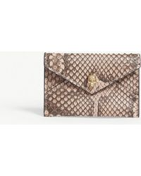 Alexander McQueen - Nude Pink And Brown Skull Envelope Python Card Holder - Lyst