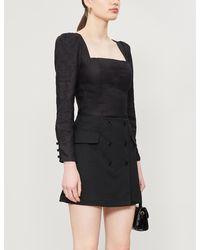 Reformation Fillmore Puffed-shoulder Linen Top - Black