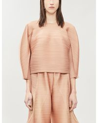 Pleats Please Issey Miyake Bounce Woven Pleated Top - Natural