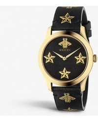 1e57b99efd1 Gucci - Ya1264055 G-timeless Yellow Gold-plated Stainless Steel And Leather  Watch -