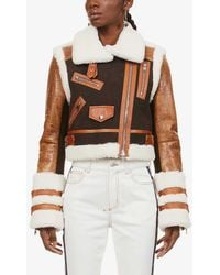 Alexander McQueen - Contrast-panel Leather And Shearling Jacket - Lyst