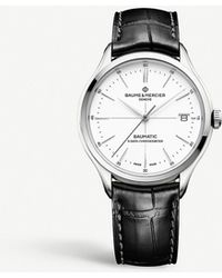 Baume & Mercier Clifton Baumatic Stainless Steel And Leather Automatic Watch - Black