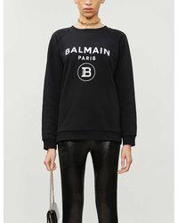 Balmain Logo-print Cotton-jersey Sweatshirt - Black