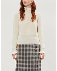 Sandro Ruffled Wool-blend Knit Sweater - Natural