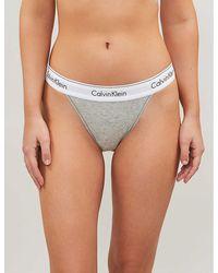 Calvin Klein Modern Cotton Cotton-jersey Thong - Grey