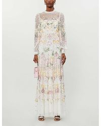 Needle & Thread Rosalie Floral-sequinned Tulle Gown - White