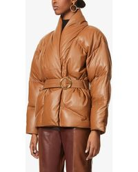 FRAME Wrap-front Padded Leather Jacket - Brown