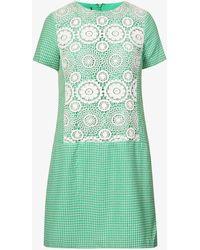 Beyond Retro Pre-loved Crochet-panel Cotton-blend Mini Dress - Green