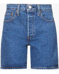 Levi's 501 Mid-rise Faded Stretch-denim Shorts - Blue