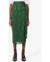 Never Fully Dressed Jaspre Leopard-print Woven Midi Skirt - Green