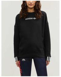 adidas Originals Coeeze Logo-embroidered Cotton-jersey Sweatshirt - Black