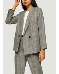 TOPSHOP Considered Mint Check Double Breasted Blazer - Grey