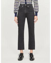 Sandro Jayn Cropped Straight-leg High-rise Stretch-denim Jeans - Black