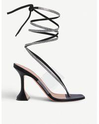 AMINA MUADDI Zula Crystal-embellished Leather Heeled Sandals - Black