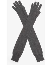 The Row Besede Cashmere And Silk-blend Gloves - Gray