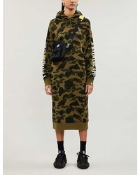 A Bathing Ape Camouflage-print Cotton-jersey Hoody Dress - Green