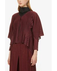 Pleats Please Issey Miyake Pleated Woven Cape - Red