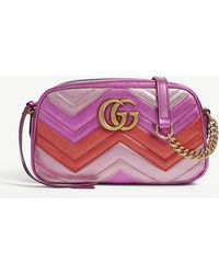 Gucci - Women's Fushcia Pink GG Marmont Shoulder Bag - Lyst