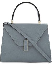 Valextra Women's Polvere Blue Iside Pebbled Leather Cross Body Bag