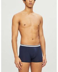 Zimmerli Pure Comfort Classic-fit Stretch-cotton Trunks - Blue
