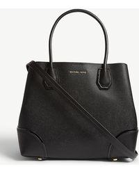 MICHAEL Michael Kors Mercer Gallery Pebbled Leather Satchel - Black