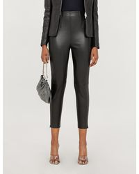 Pinko Macinare High-rise Leather And Stretch-jersey Pants - Black