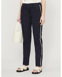 Zadig & Voltaire Pomelo Side-striped Slim-fit Cotton-blend Trousers - Blue