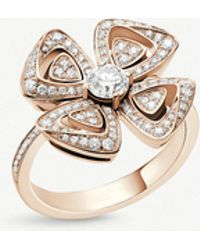 BVLGARI - Fiorever 18ct Rose-gold And Diamond Ring - Lyst