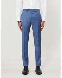 Ted Baker Debonair Slim-fit Sharkskin Wool Pants - Blue