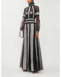 Costarellos Semi-sheer Crochet-trim Sequin-embellished Gown - Black
