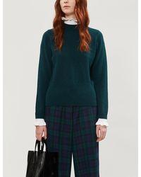 Sandro Miles High-neck Wool-blend Jumper - Green